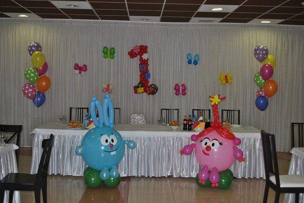 Украшение зала на день рождения ребенка 1 год фото своими руками